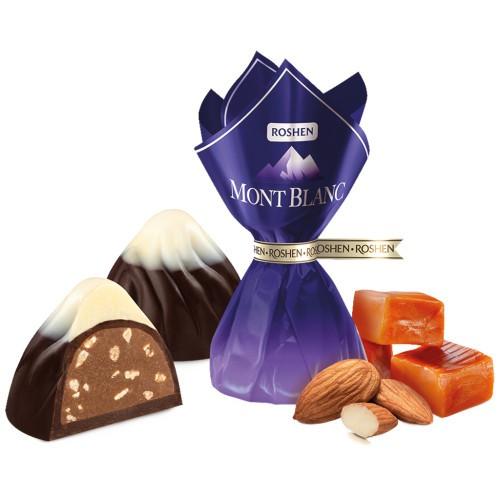 Конфеты Монблан с карамелью и миндалем / Bonboni Mont Blanc s karamelo in mandlji. Roshen.