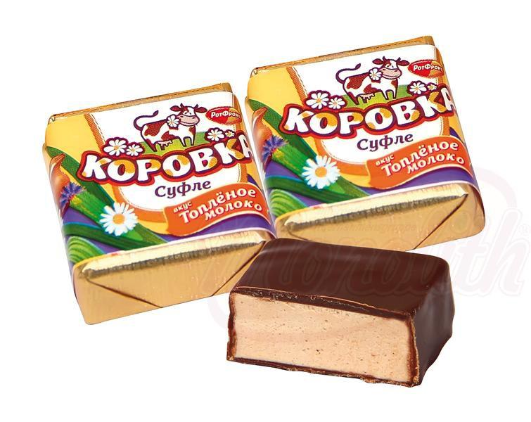 "Soufflé ""Korovka"" z okusom pečenega mleka v kakavovi glazuri/Суфле ""Коровка"" со вкусом топлёного молока в какаосодержашей глазури"