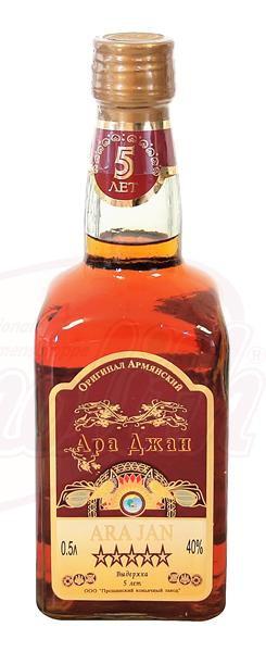 "Armenski konjak ""Ara Jan"", star 5 let, 40% alk./Армянский коньяк ""Ара Джан"" выдержка 5 лет 40% алк."