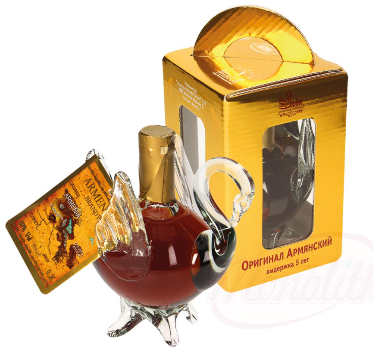 "Armensko brandy ""LABOD"" 40% alk. v darilni škatli/Армянский коньяк ""ЛЕБЕДЬ"" 40 % алк. в подарочной коробке"