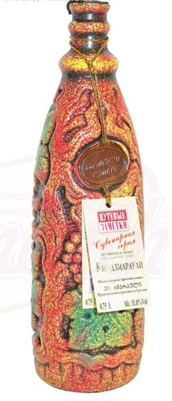"Spominki gruzijsko rdeče vino ""Kindzmarauli"" 11%, polsladko/Сувенирное грузинское красное вино ""Киндзмараули"" 11%, полусладкое"