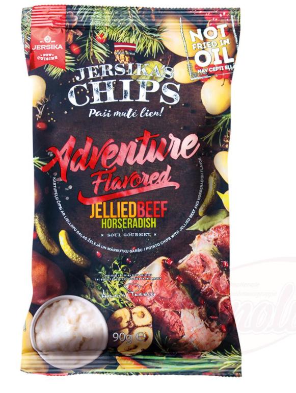 Krompirjev čips z mesom iz govejega želeja in okusom po hrenu. 90g