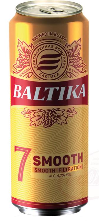 """Piva """"Baltika"""" Smooth No. 7, alk. 4,7 %, 450ml."""