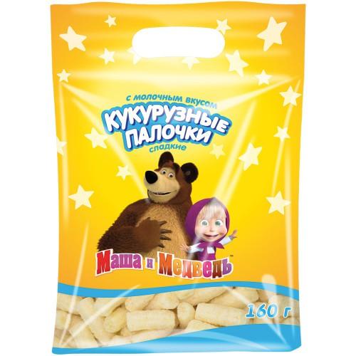 Кукурузные палочки с молочным вкусом Маша и медведь/ Koruzne palčke z okusom mleka Maša in medved 160 g.