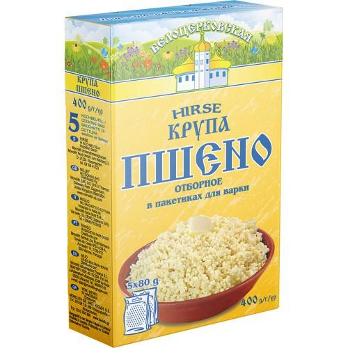 Крупа Пшено в пакетиках/ Proso v vrečkah (5*80 g.) 400 g. Белоцеркoвская.