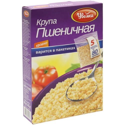 Крупа Пшеничная в пакетиках/ Pšenična kaša v vrečkah 5*80 g. Увелка.