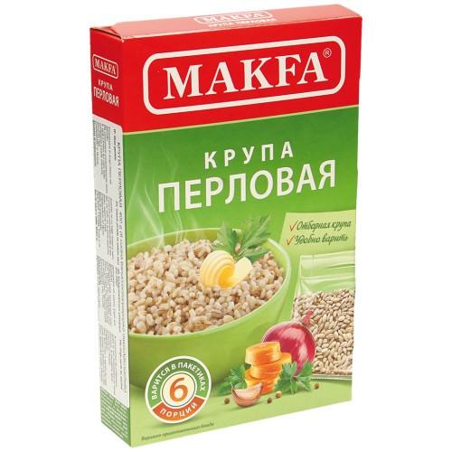 Крупа Перловая в пакетиках/ Ječmenova kaša v vrečkah. Makfa.
