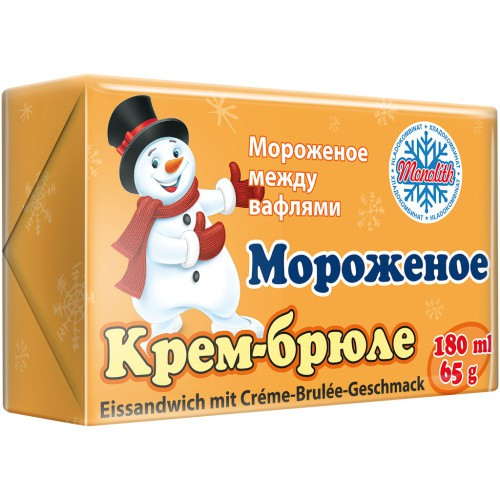 Мороженое брикет Крем-брюле/ Sladoledni briket Creme brulee 65 g. Monolith.