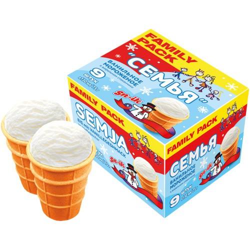 Ванильное мороженое Семья/ Vanilijev sladoled Družina 9*130ml.